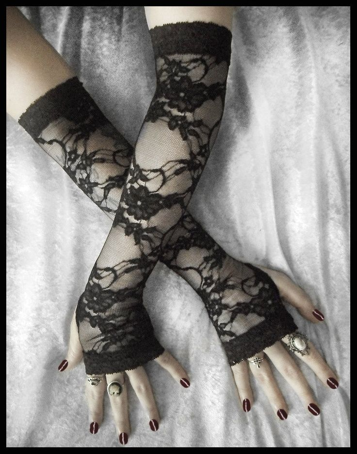 Isabel Lace Extra Long Arm Warmers - Black Floral & Scroll on Sheer - Belly Dance Vampire Bohemian Tribal Wedding Pixie Fetish Burlesque Emo. $34.00, via Etsy.