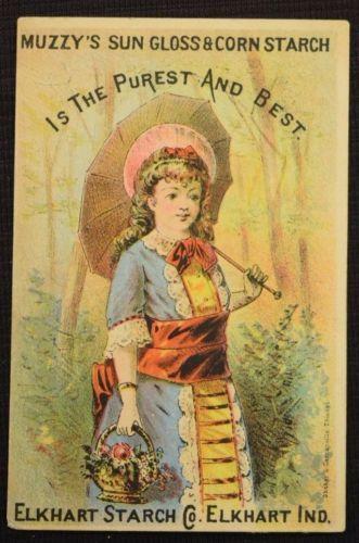 Antique-Victorian-Trade-Card-Muzzy-039-s-Sun-Gloss-amp-Corn-Starch-Elkhart-IN-3-034-x4-25-034