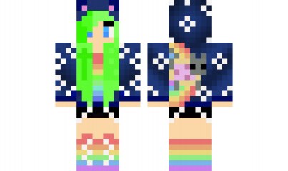 Minecraft Skin Nyan Cat Girl Green Hair Awesome Minecraft Skins