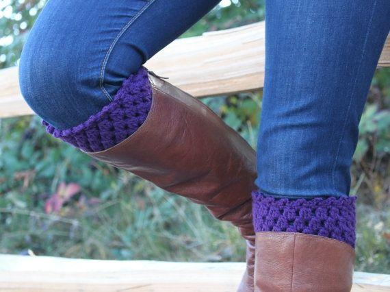Crochet Boot Cuffs Leg Warmers Boot Socks Plum Purple by ana9112