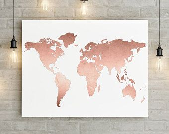 Navy world map wall art canvas world map print in navy blue and gold gumiabroncs Choice Image