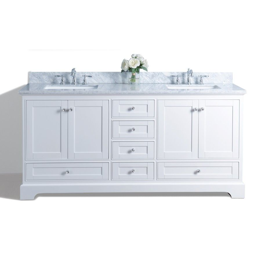 Audrey White Undermount Double Sink Bathroom Vanity With Natural