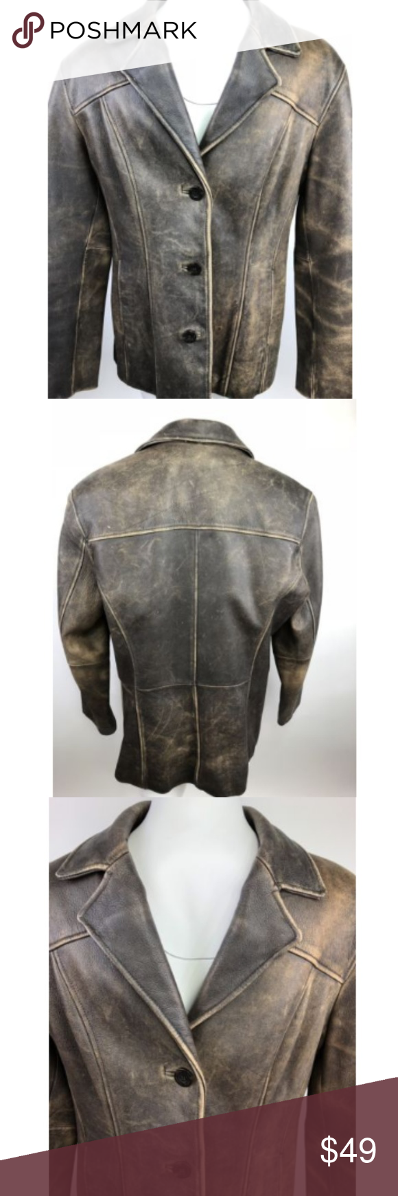 Wilson Leather Jacket Brown Distressed Blazer Brown