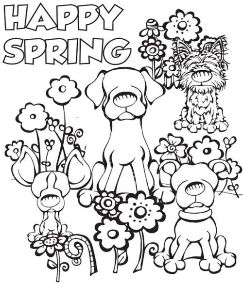 Dog Happy Spring Day Coloring Pages Spring Coloring Pages Spring Coloring Sheets Free Kids Coloring Pages