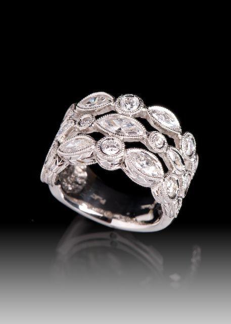 JPratt Designs: Custom designed platinum and diamond wide, 3 row ladies band
