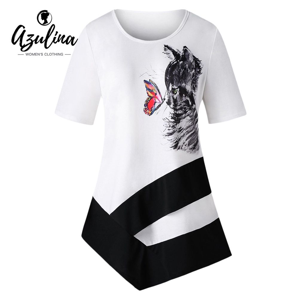 Plus Size Cat Print Asymmetric T-Shirt Women Ladies Short Sleeves Long T  Shirts Womens