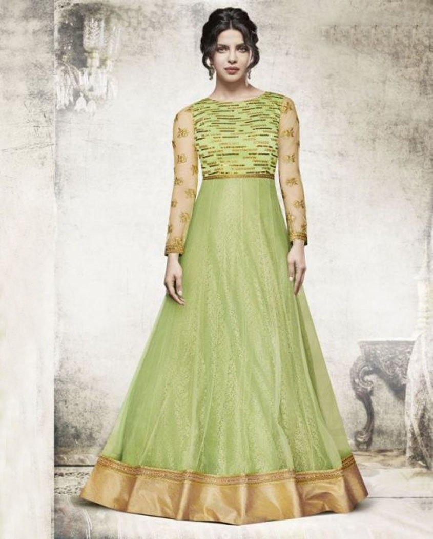 3d4e181bbb Light green net embroidered floor length anarkali suit. This suit is  adorned with floral embroidery and lace work. Comes with a matching bottom  and dupatta.