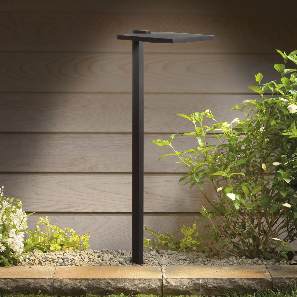 12v Shallow Shade Path Light By Kichler 15805bkt27r Garden Path Lighting Solar Lights Garden Modern Landscape Lighting