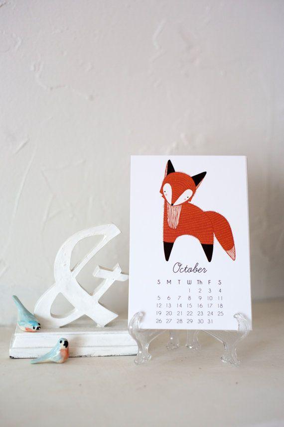 Calendario Fox.2016 Calendar Little Fox Calendar With Display Easel By