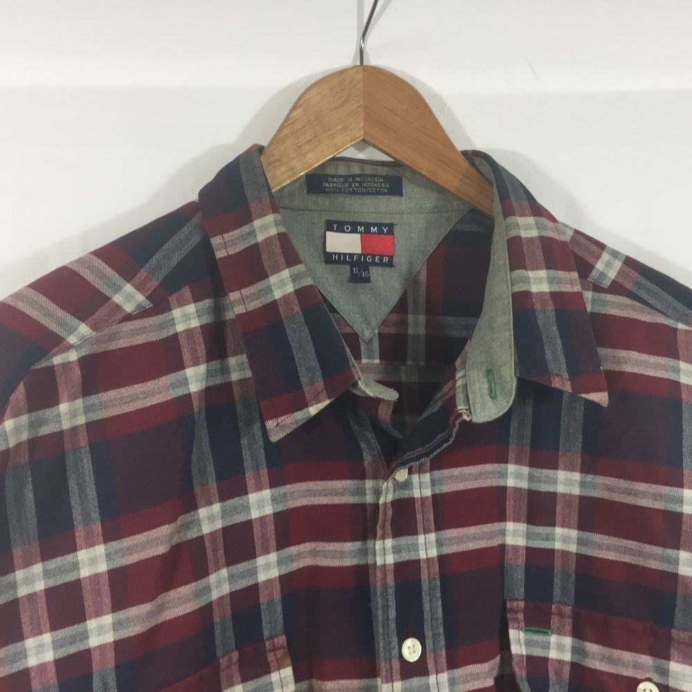 66876aca Vintage Tommy Hilfiger Plaid Flannel Shirt Mens Size XL 90s VTG Button  Front A05 #fashion #clothing #shoes #accessories #mensclothing #shirts  (ebay link)