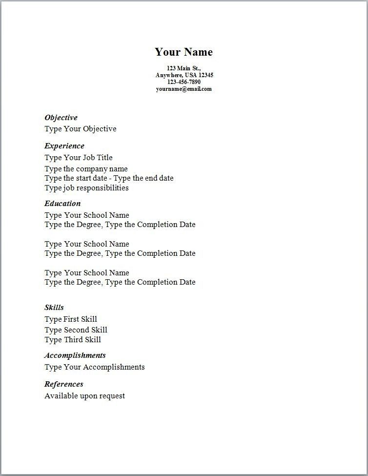 Simple Sample Resume Templates Simple Resume Template Free - Basic Resume Template Download