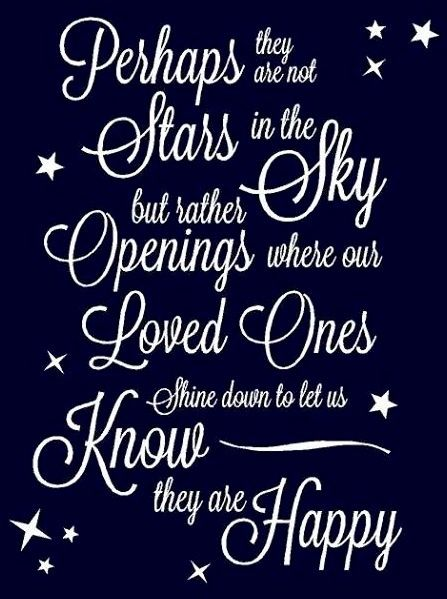 Good Perhaps They Are Not ⭐ Stars In The Sky But Rather Openings Where Our Loved  Ones ⭐ Shine Down To Let Us Know They Are Happy ⭐ ❤ Trudi