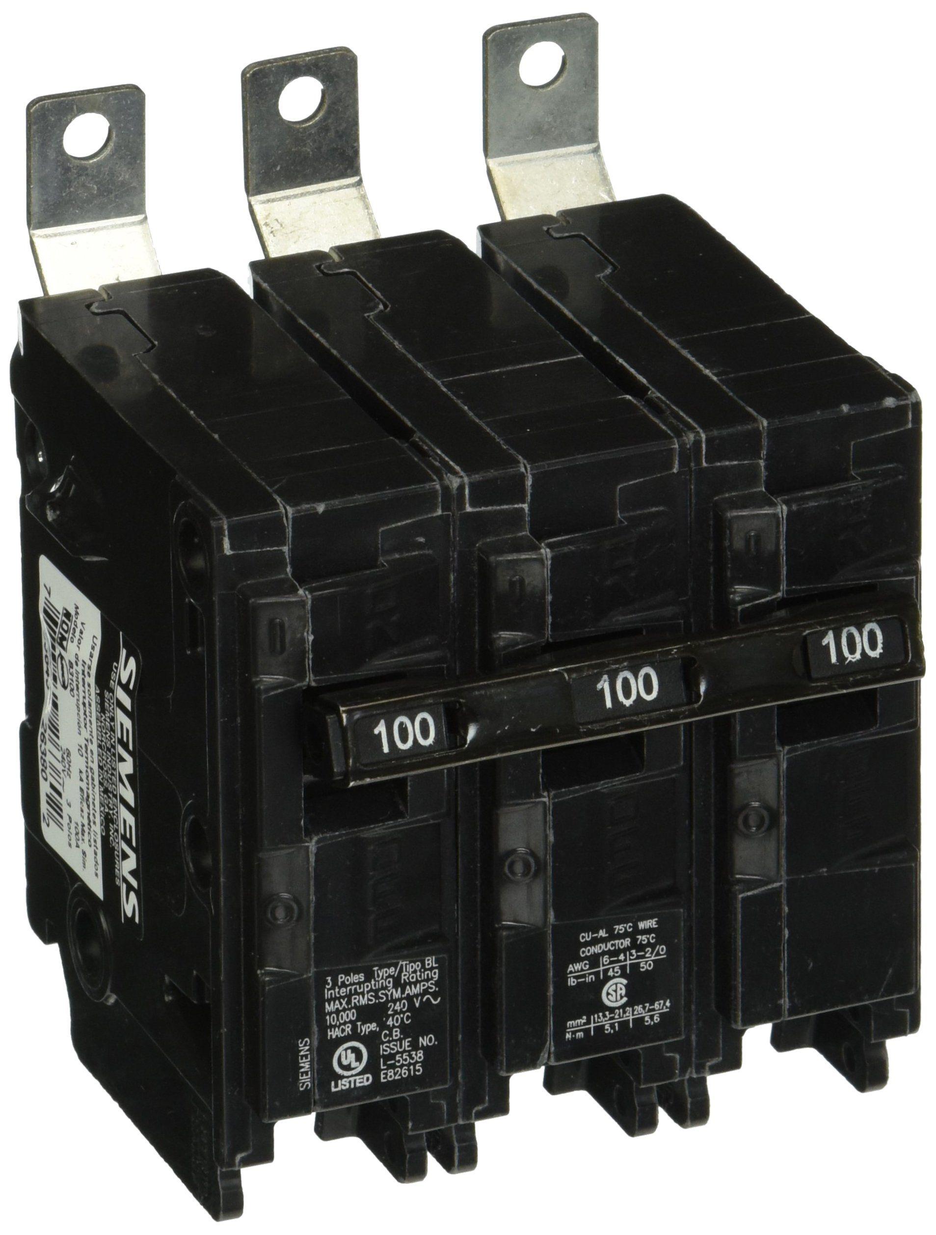 Siemens B3100 100 Amp Three Pole 240 Volt 10kaic Bolt In Breaker