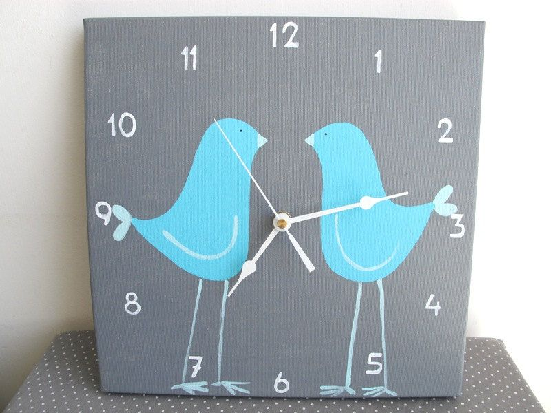 Childrens Wall Clock Two Blue Love Birds Grey Clock For Nursery