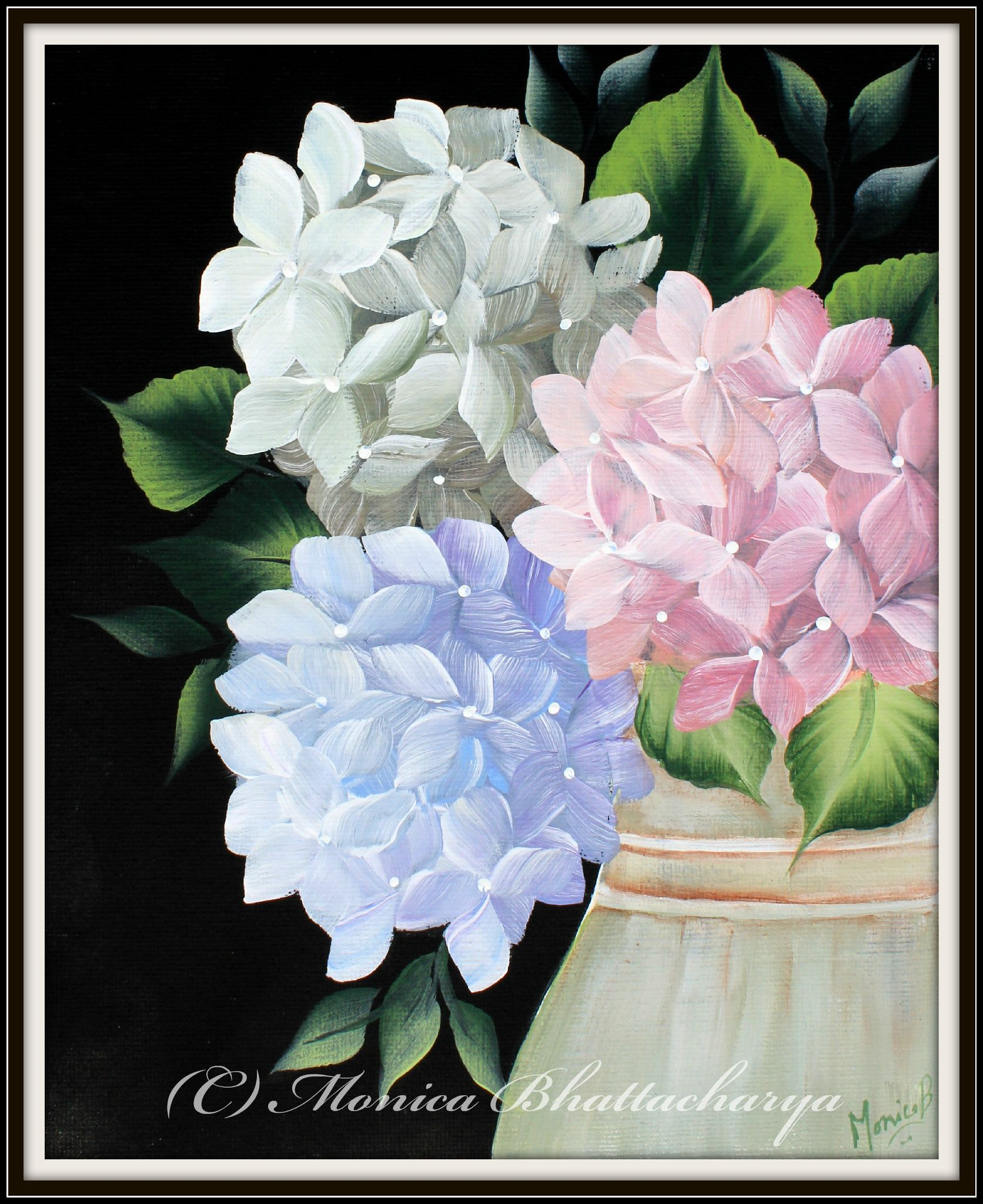 Acrylics On Canvas Hydrangeas Painted By Monica Bhattacharya Flower Painting Floral Painting Hydrangea Painting