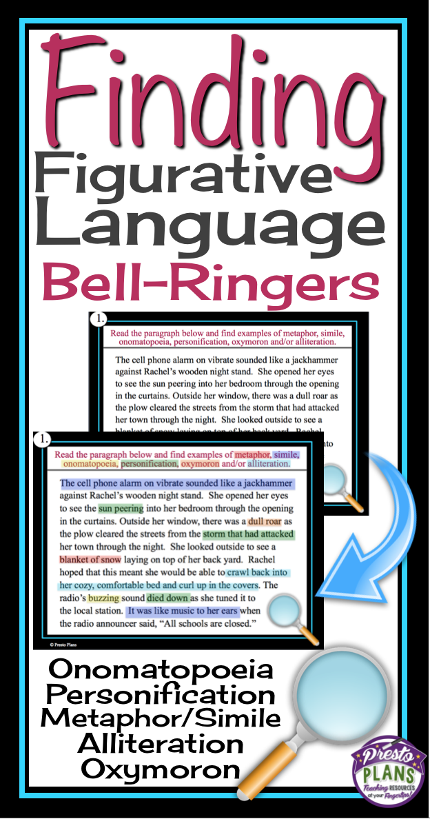 Figurative Language Bell Ringers Task Cards Alliteration Simile