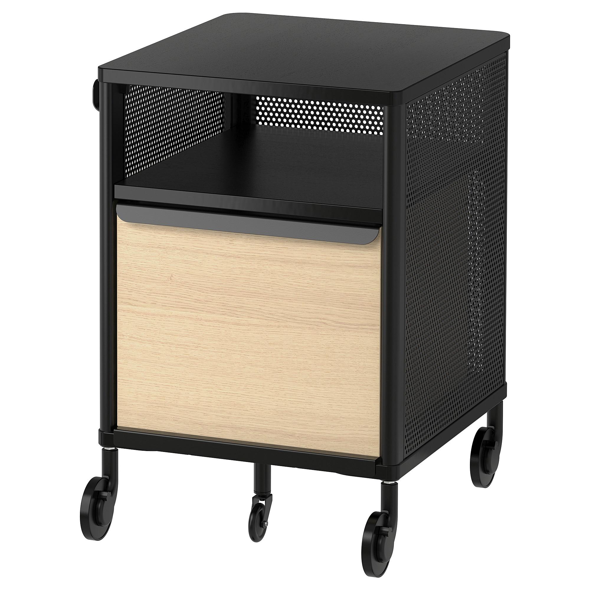 BEKANT Storage unit on casters mesh black 16 1/8x24