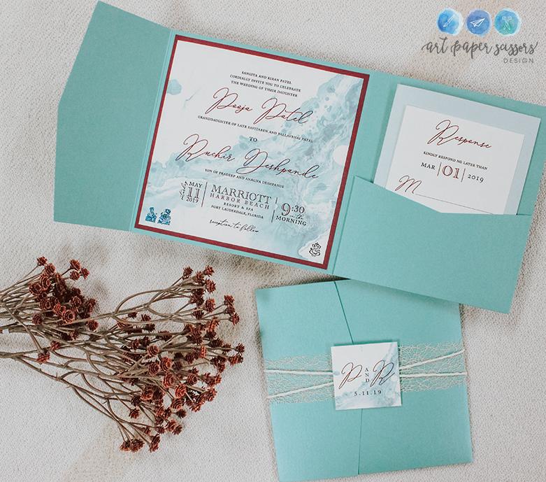 Mint Green and Burgundy Modern Wedding Invitations
