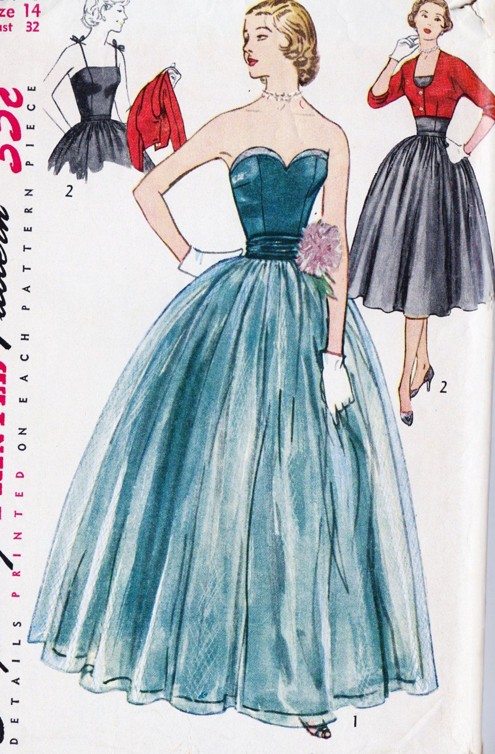 1950s Misses Evening Dress Evening Gown Prom Dress