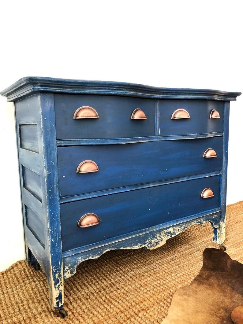 Sold Shown As Example Of Work Blue Dresser 1900s Etsy Blue Painted Furniture Blue Distressed Furniture How To Antique Wood [ 1060 x 794 Pixel ]