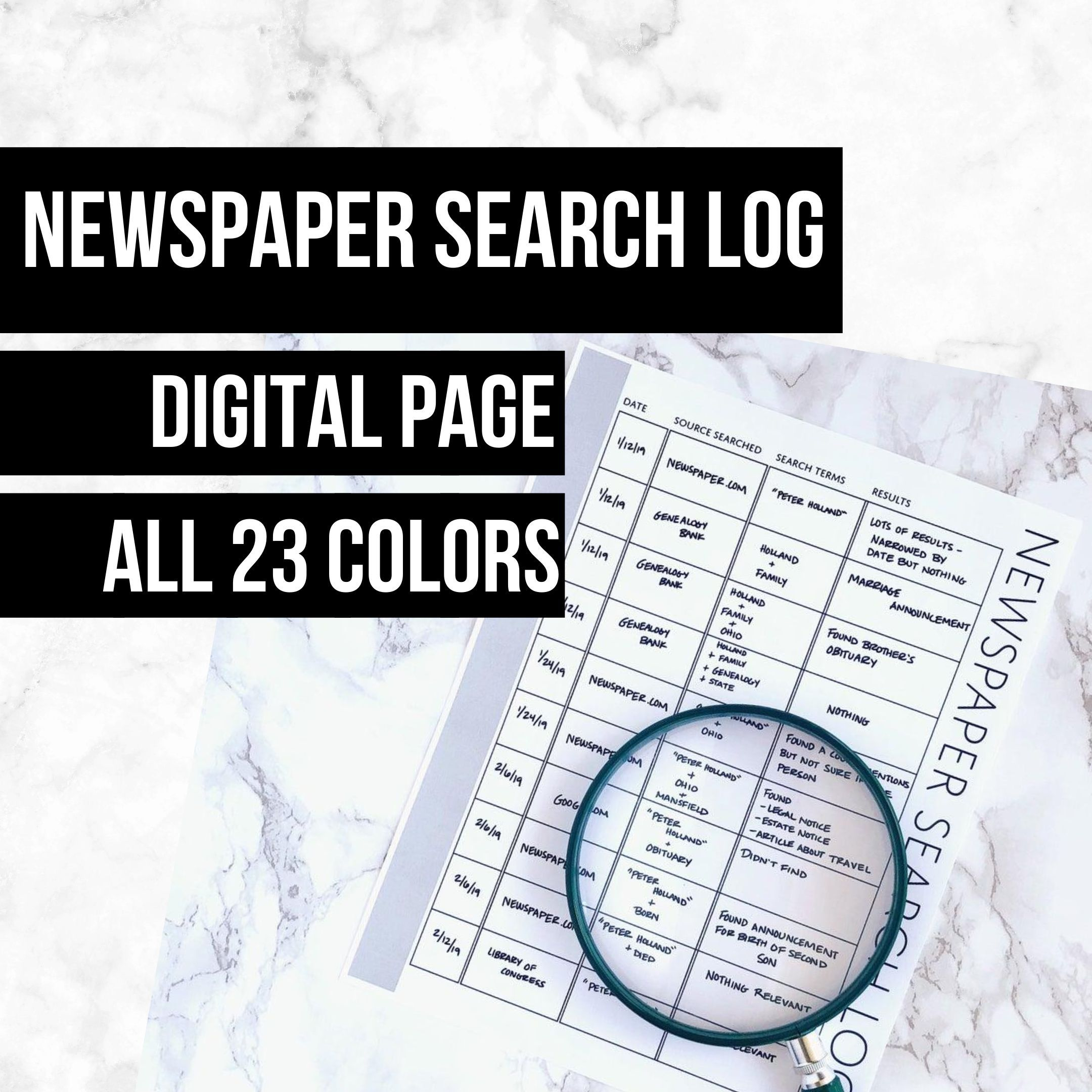 Newspaper Search Log Family History Page In