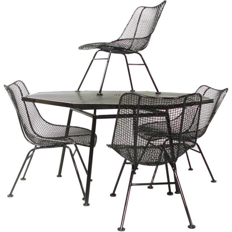 Wrought Iron And Mesh Table With Chairs By Russell Woodard