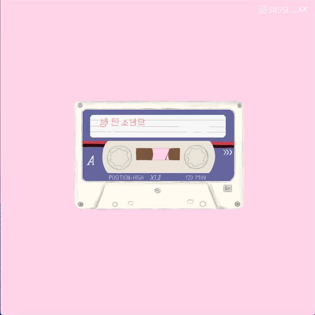 Digital Art Illustration Cassette Tape Vintage Retro Pink Pastel Digital Art Illustration Retro Aesthetic Bts Fanart