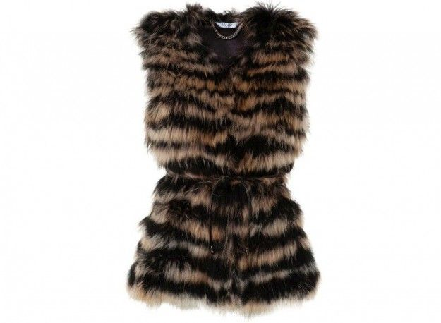 size 40 d9fdc a1b39 Pelliccia ecologica Liu Jo, gilet striato | Crazy Fur ...
