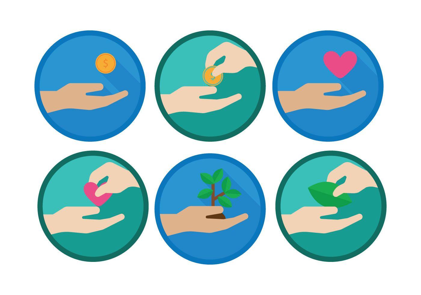 Donate Hands Icon Set