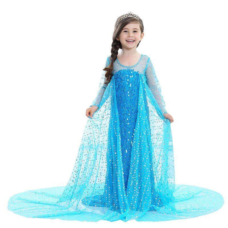 Girl Dresses Princess Children Anna Elsa Halloween Cosplay Costume Party Dress