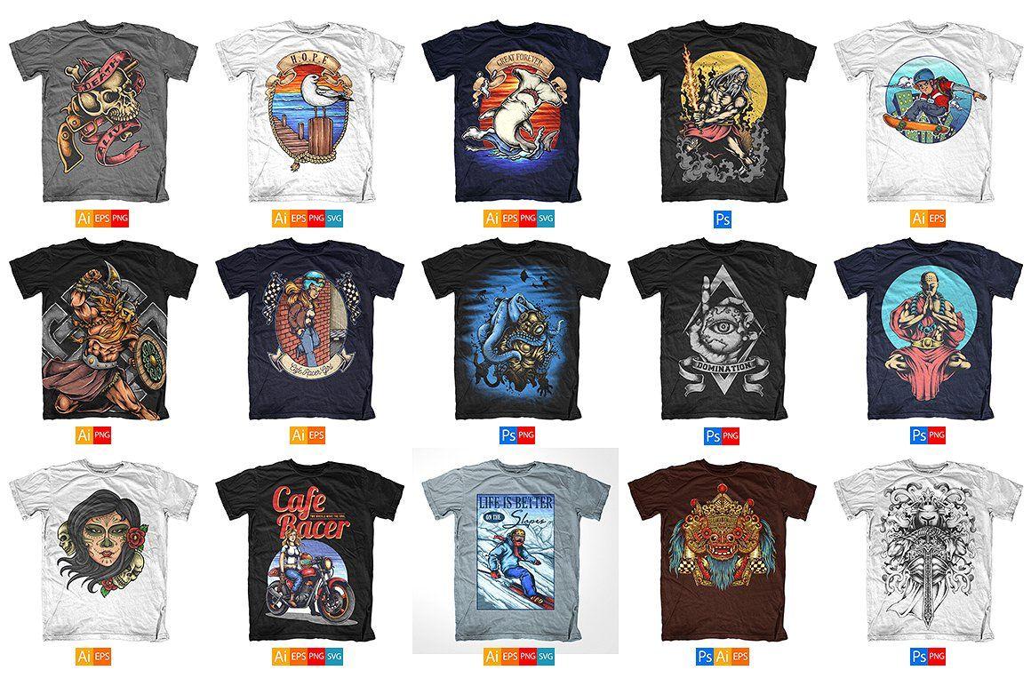 100 T Shirt Designs Tshirt Designs Design Bundles Illustration Design