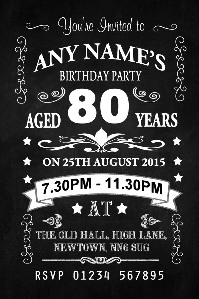 Image result for 80 years old birthday party ideas VILLARIS - chalk board invitation template