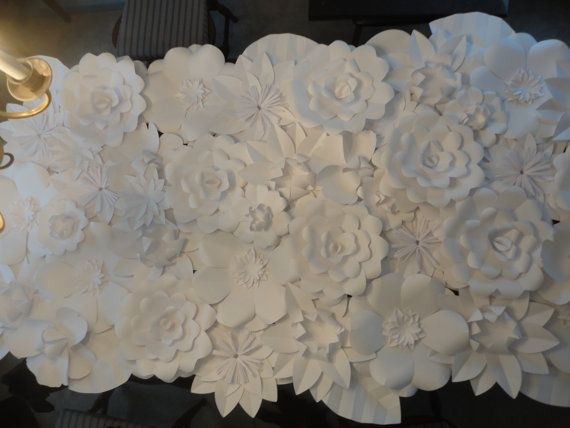 white paper flower wall 4ft x 8ft extra large by