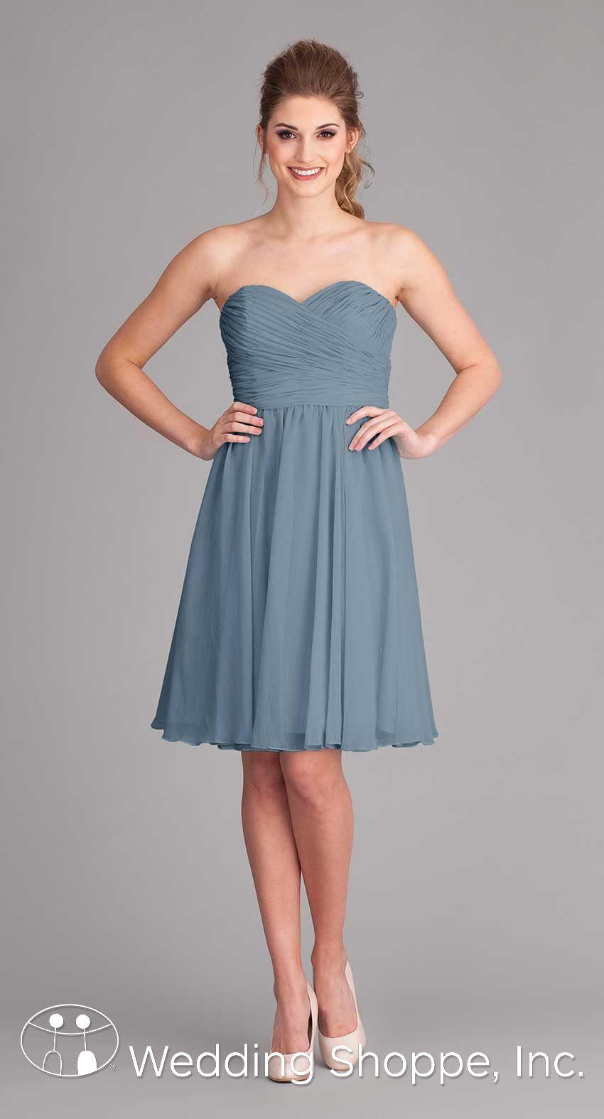 A classic short strapless bridesmaid dress with sweetheart a classic short strapless bridesmaid dress with sweetheart neckline blue weddings kennedy blue ombrellifo Images