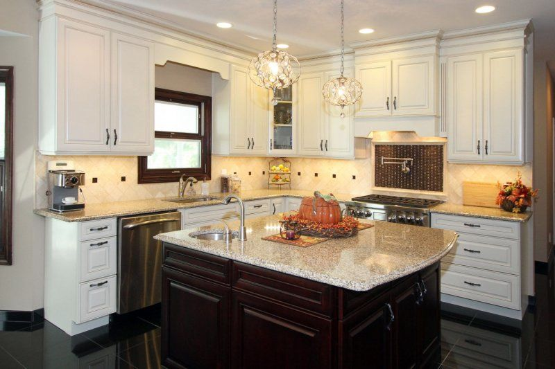 2 tone kitchen renovation with white maple cabinets and darker