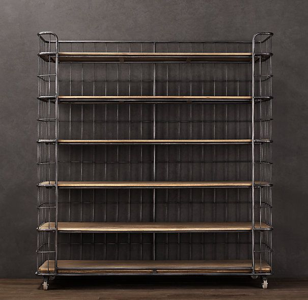 Circa 1900 Caged Baker S Rack Wide Single Shelving Bakers Rack