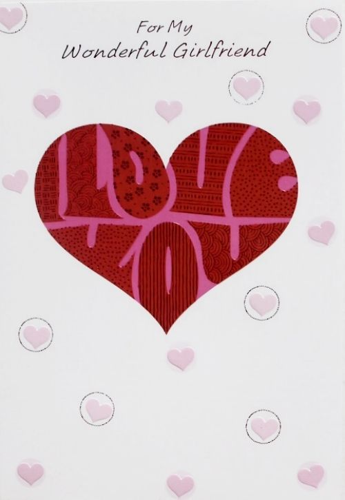 For My Wonderful Girlfriend Birthday Greeting Card Hearts Theme Brand New