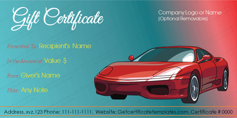 get beautifully designed car deal gift certificate template from our premium certificates collection - Automotive Gift Certificate Template Free