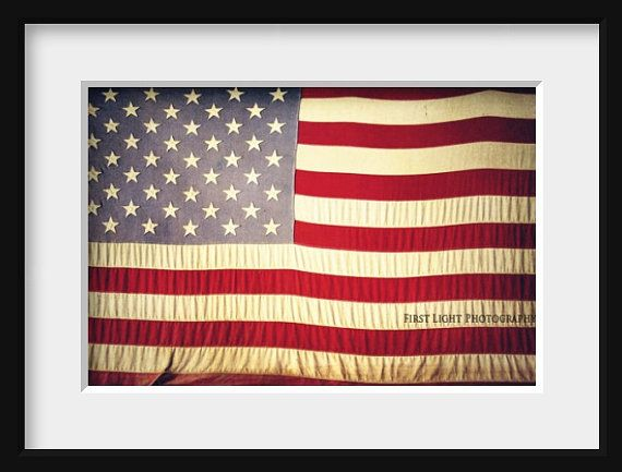 American Flag Photograph Old American Flag by FirstLightPhoto