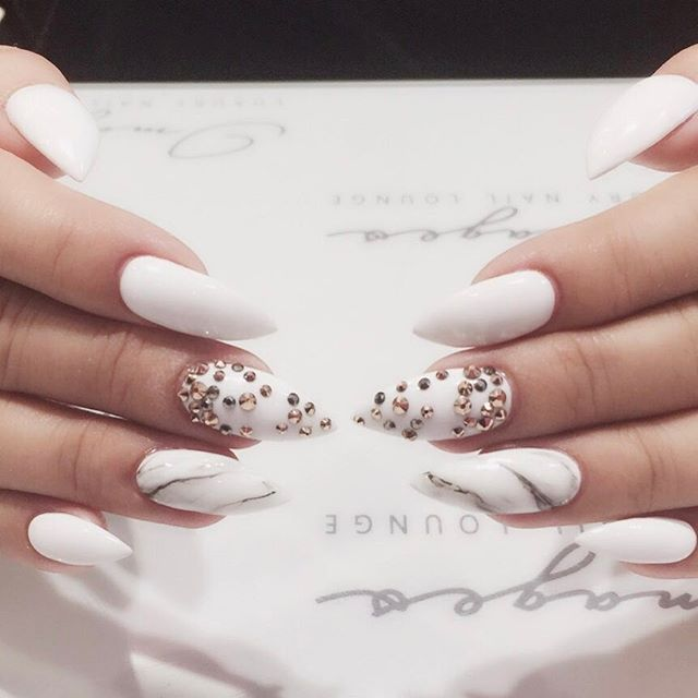 I Like This Marble And Rhinestones Nail Design What Would You Rate