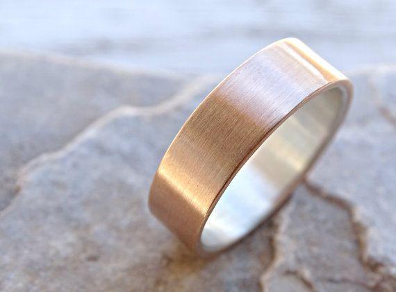Mens Wedding Band Bronze Wedding Ring Mens Ring Silver Bronze Rustic Wedding Band Silver Bronze Ring Rustic Mens Ring Anniversary Gift Bronze Wedding Mens Wedding Rings Rustic Mens Rings