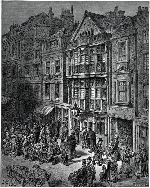 """In Bishopsgate"" from Gustave Doré's East End by the gentle author"