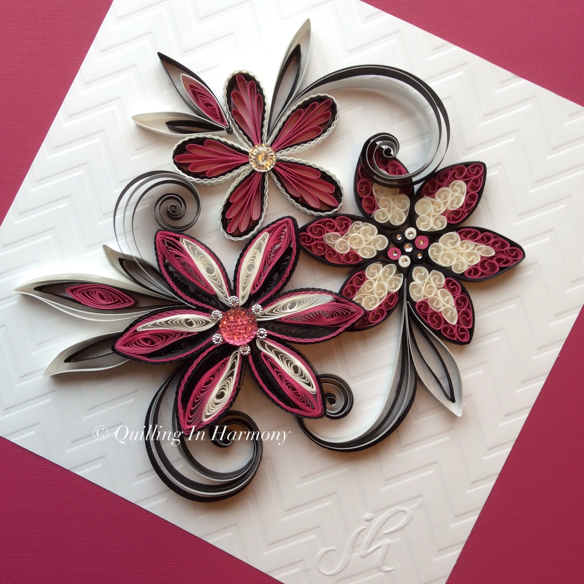 """Quilling """"Raspberry Flowers""""© 8""""x8"""" (20cmx20cm). Hand crafted paper artwork for sale by Jan and Shannon Howard. For custom orders please contact us at quilling_in_harmony@hotmail.com"""