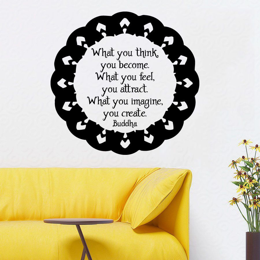 Wall Decals Mandala Quote What You Think You Become Vinyl Sticker ...