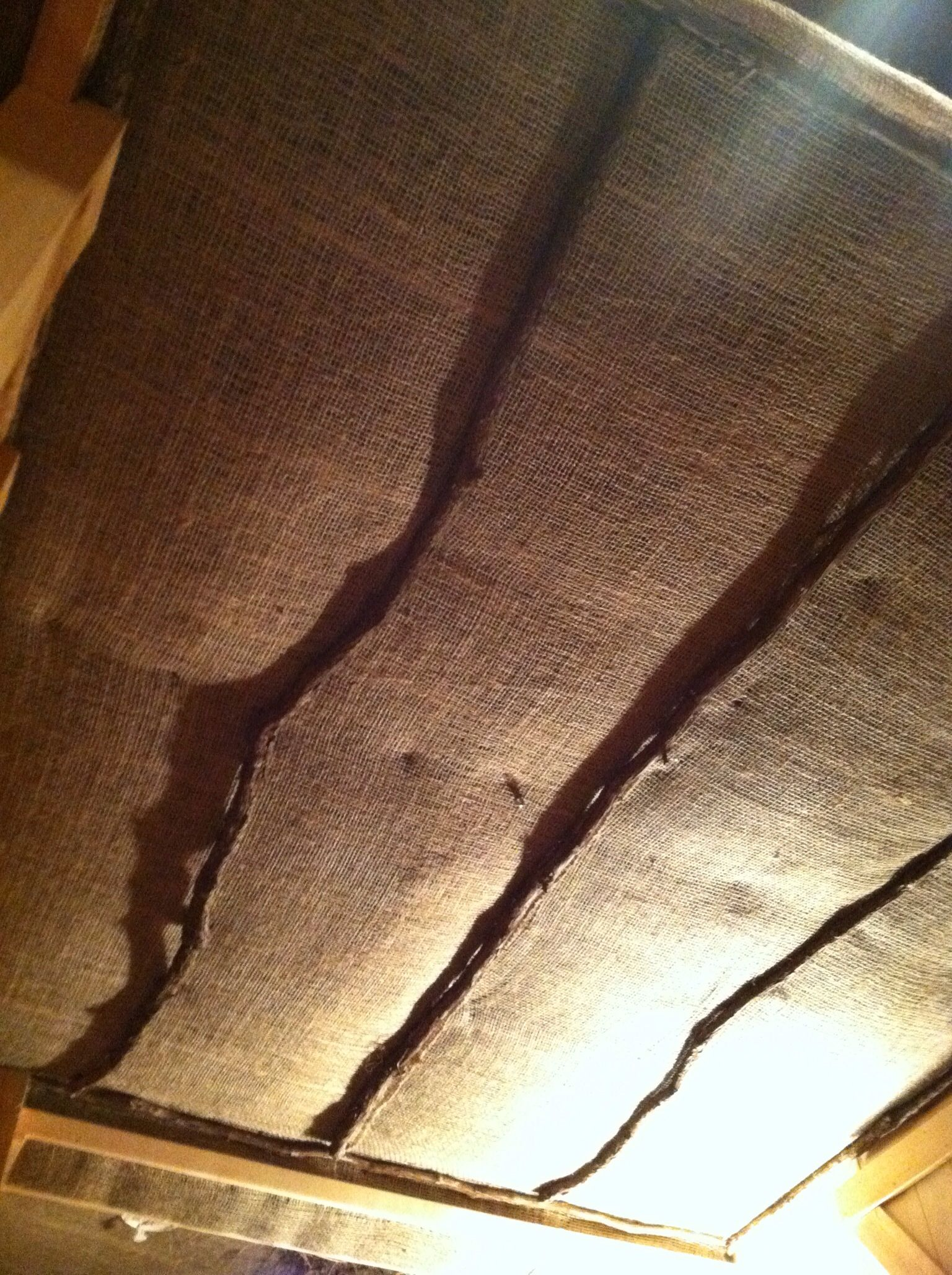 burlap ceiling with grapevine perks handmade rustics