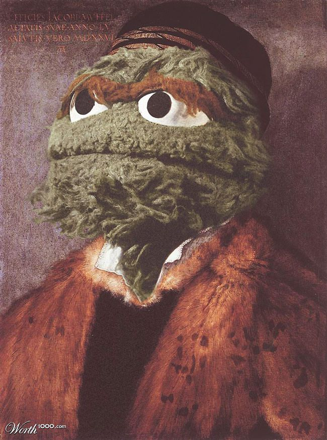 Sesame Street characters in recreated Renaissance paintings