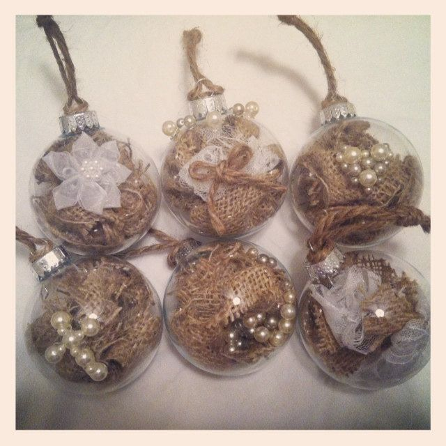 Rustic Burlap Christmas Ornaments With Pearl Embellishments- what ...