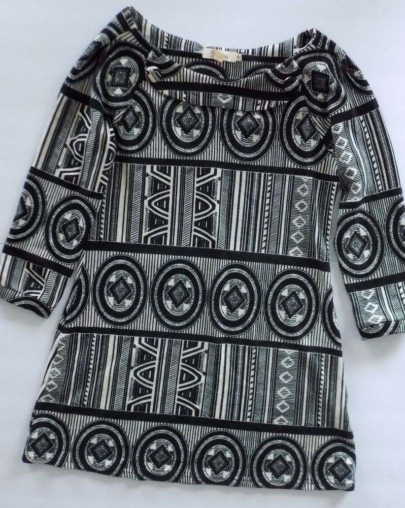 be2ea42266e Women s Aryeh Medium Sweater Short Dress Boutique Clothing Black Ivory  Geometric  Aryeh  SweaterDress  Casual