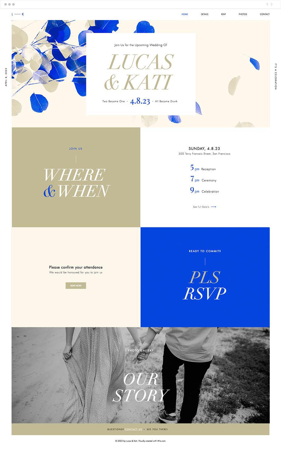 Colorful Wedding Invite Website Template Bold