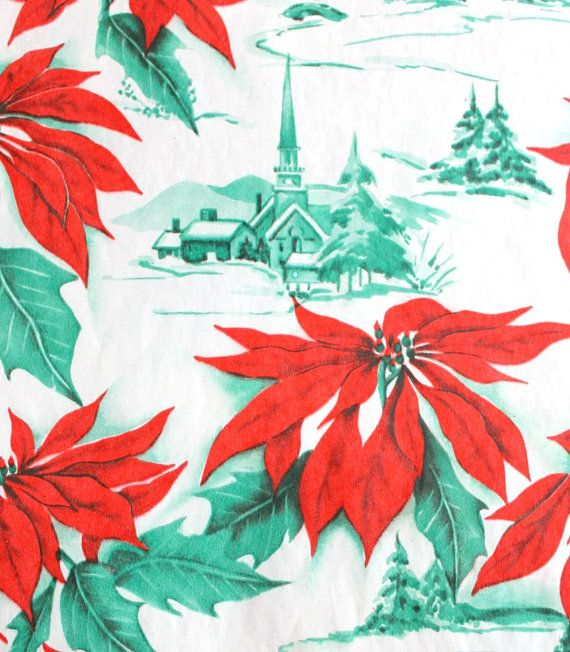 Love vintage patterns that have tiny scenes tucked behind big flowers--this is vintage wrapping paper.
